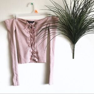 Forever 21 Pink Knit Off The Shoulder Lace Up Top
